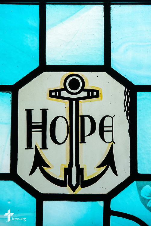 "Stained glass at Luther Memorial Chapel depicts ""hope"" on Friday, Jan. 29, 2016, in Shorewood, Wis. LCMS Communications/Erik M. Lunsford"