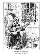 """A Tragic Serenade. Spain. """"What, you again?"""" (an imprisoned Spain is serenaded by a guitar playing pirate of Revolution)"""