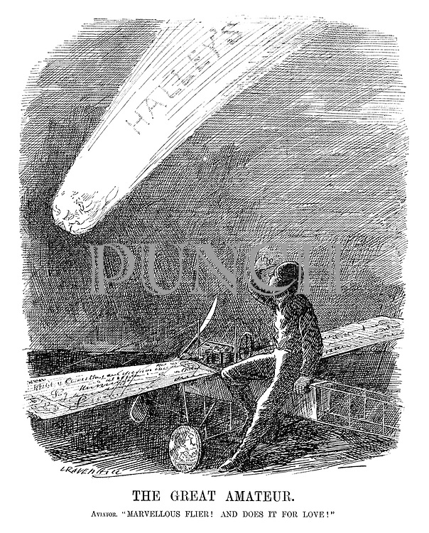 """The Great Amateur. Aviator. """"Marvellous flier! And does it for love!"""" (a pilot looking up to the sky at Halley's Comet with his plane's wings and wheels made of money in an Edwardian early aviation cartoon)"""