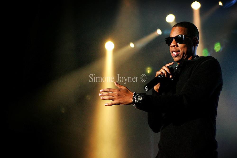 Jay-Z performs live on stage at Alexandra Palace on November 4, 2009 in London, England.  (Photo by Simone Joyner)