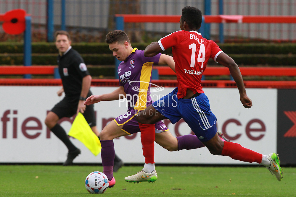 Billy Waters and Omar Beckles during the Vanarama National League match between Aldershot Town and Cheltenham Town at the EBB Stadium, Aldershot, England on 28 November 2015. Photo by Antony Thompson.