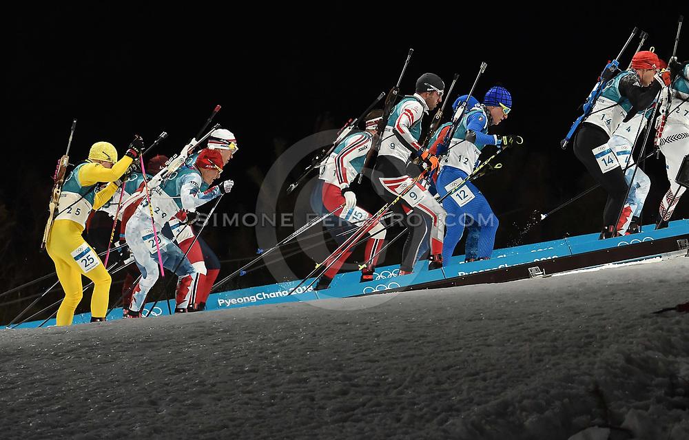 Corea del Sud 18 febbraio 2018<br /> XXIII Olimpiadi Invernali Pyeongchang 2018.<br /> Alpensia Biathlon Centre. Men's 15km Mass Start. <br /> In gara per l'Italia il #7 WINDISCH Dominik e il # 12 HOFER Lukas. <br /> Foto Simone Ferraro / GMT