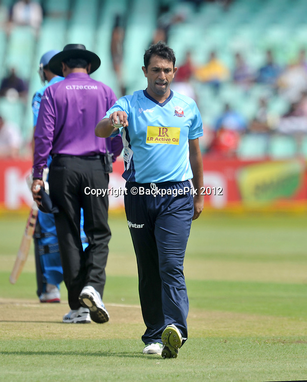 Azhar Mahmood of Auckland Aces during the 2012 Champions League match Twenty20 ,Auckland Aces and Titans at the Kingsmead Stadium in Durban , 17 October 2012<br />   <br /> <br /> &copy; Sabelo Mngoma/BackpagePix