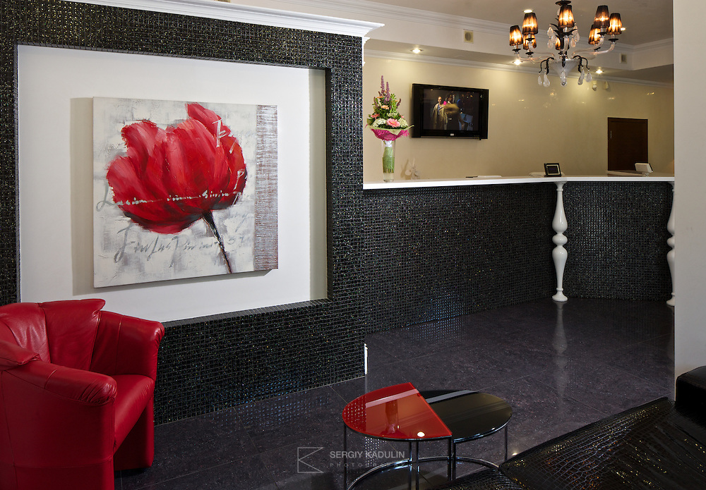 Design elements of reception area of Zablotsky dental clinic in Kyiv, Ukraine.