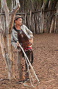 Brazilian 'Vaquiero' Cowboy<br /> Caatinga Habitat<br /> Bahia State, NE BRAZIL.  South America<br /> <br /> Fully leather clad against harsh spines of Caatinga Vegetation.