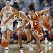 UNCASVILLE, CONNECTICUT- DECEMBER 4: Kia Nurse #11 of the Connecticut Huskies is challenged by Brooke McCarty #11 of the Texas Longhorns during the UConn Huskies Vs Texas Longhorns, NCAA Women's Basketball game in the Jimmy V Classic on December 4th, 2016 at the Mohegan Sun Arena, Uncasville, Connecticut. (Photo by Tim Clayton/Corbis via Getty Images)