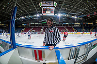 KELOWNA, CANADA - OCTOBER 27: Linesman Tim Plamondon stands at the bench during warm up between Tri-City Americans and Kelowna Rockets on October 27, 2017 at Prospera Place in Kelowna, British Columbia, Canada.  (Photo by Marissa Baecker/Shoot the Breeze)  *** Local Caption ***