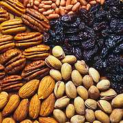 Close-Up of different nuts. Mexico