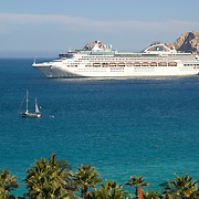 Cruise ship on Cabo San Lucas bay, Mexico.