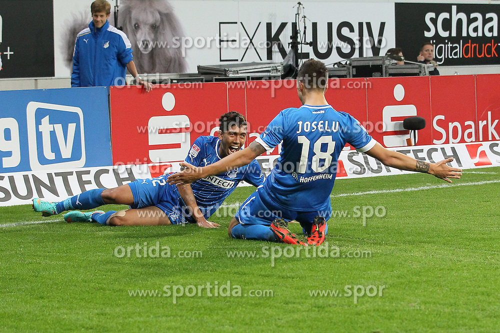 19.10.2012, Rhein Neckar Arena, Sinsheim, GER, 1. FBL, TSG 1899 Hoffenheim vs SpVgg Greuther Fuerth, 08. Runde, im Bild Roberto FIRMINO (TSG 1899 Hoffenheim), liegend, und JOSELU (TSG 1899 Hoffenheim) bejubeln den Treffer zum 2:1 von JOSELU (TSG 1899 Hoffenheim) // during the German Bundesliga 08th round match between TSG 1899 Hoffenheim and SpVgg Greuther Fuerth at the Rhein Neckar Arena, Sinsheim, Germany on 2012/10/19,, , , , , , , , , , . EXPA Pictures © 2012, PhotoCredit: EXPA/ Eibner/ Ehrmann..***** ATTENTION - OUT OF GER *****