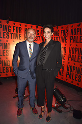 """Christian Louboutin, Farida Khelfa at """"Hoping For Palestine"""" Benefit Concert For Palestinian Refugee Children held at The Roundhouse, Chalk Farm Road, England. 04 June 2018. <br /> Photo by Dominic O'Neill/SilverHub 0203 174 1069/ 07711972644 - Editors@silverhubmedia.com"""