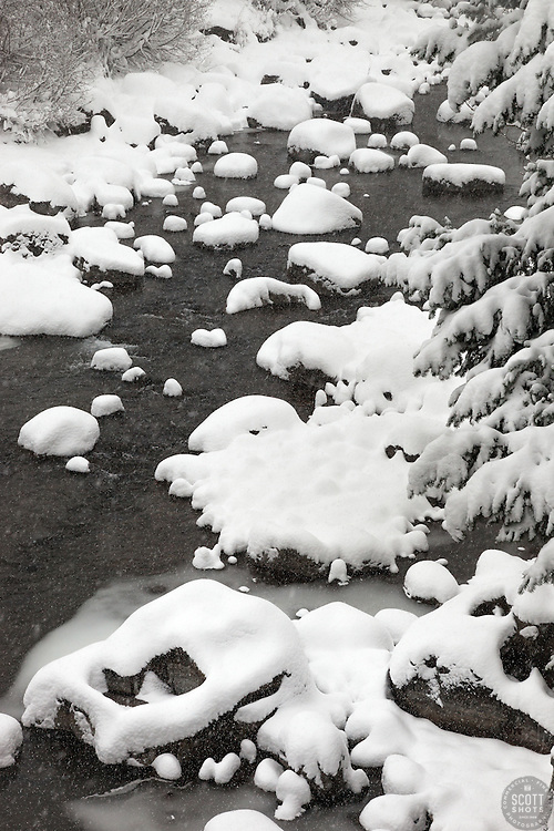 """Snowy Truckee River 7"" - Photograph of a snowy Truckee River in Downtown Truckee, California."