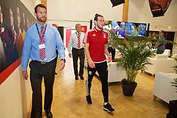 DINARD, FRANCE - Wednesday, June 29, 2016: Wales' Gareth Bale is flanked by security Grant Briggs and Les Miles after a media session at their base in Dinard as they prepare for the Quarter-Final match against Belgium during the UEFA Euro 2016 Championship. (Pic by David Rawcliffe/Propaganda)