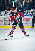 KELOWNA, CANADA - NOVEMBER 28:  Myles Bell #29 of the Kelowna Rockets looks for the pass against the  Tri City Americans at the Kelowna Rockets on November 28, 2012 at Prospera Place in Kelowna, British Columbia, Canada (Photo by Marissa Baecker/Shoot the Breeze) *** Local Caption ***