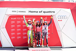 16.03.2017, Aspen, USA, FIS Weltcup Ski Alpin, Finale 2017, SuperG, Damen, Siegerehrung, im Bild Ilka Stuhec (SLO), Tina Weirather (LIE, Siegerin welt Cup Super G Damen), Federica Brignone (ITA) // Ilka Stuhec of Slovenia Winner of the Super G ladiesTina Weirather of Liechtenstein Federica Brignone of Italy during the winner presentation for the ladie's Super-G of 2017 FIS ski alpine world cup finals. Aspen, United Staates on 2017/03/16. EXPA Pictures © 2017, PhotoCredit: EXPA/ Erich Spiess