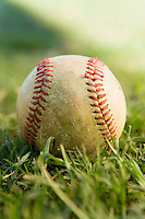 Baseball on grass (close-up)