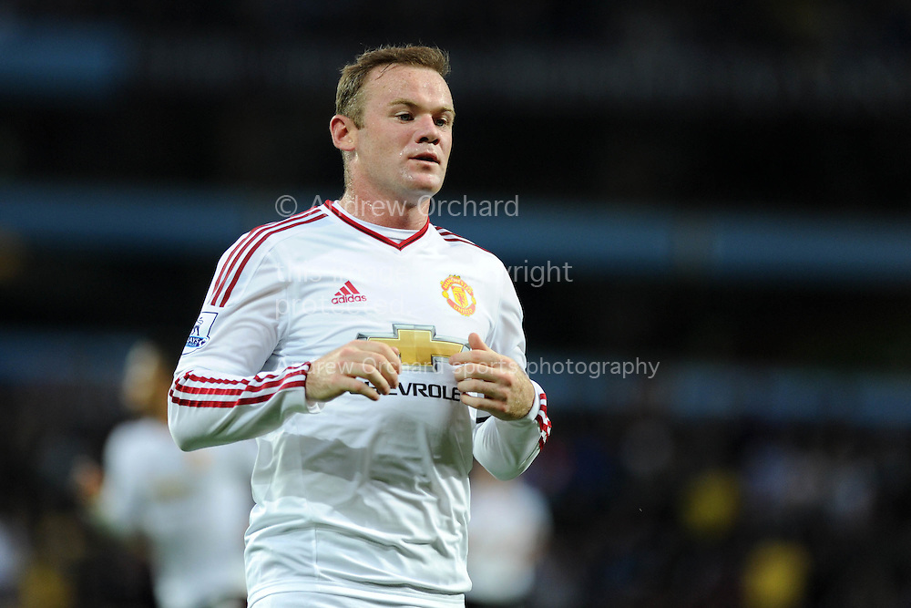 Wayne Rooney of Manchester Utd looks on. Barclays Premier League match, Aston Villa v Manchester Utd at Villa Park in Birmingham, Midlands on Friday 14th August  2015.<br /> pic by Andrew Orchard, Andrew Orchard sports photography.