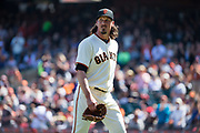 San Francisco Giants starting pitcher Jeff Samardzija (29) walks off the mound after pitching against the Arizona Diamondbacks at AT&T Park in San Francisco, California, on August 6, 2017. (Stan Olszewski/Special to S.F. Examiner)