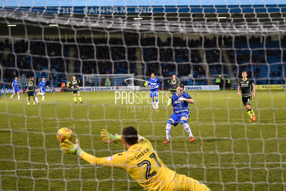 Gillingham FC midfielder Mark Byrne (33) scores a penalty goal on the rebound (1-0) during the EFL Sky Bet League 1 match between Gillingham and Bristol Rovers at the MEMS Priestfield Stadium, Gillingham, England on 16 December 2017. Photo by Martin Cole.