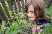 A girl's face shows excitement at seeing a monarch catepillar climbing on a swamp milkweed plant.