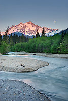 Moonrise over Mount Shuksan from the Nooksack River, North Cascades Washington USA