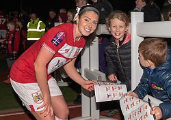 Carla Humphrey of Bristol City meets young supporters after the match - Mandatory by-line: Paul Knight/JMP - 17/11/2018 - FOOTBALL - Stoke Gifford Stadium - Bristol, England - Bristol City Women v Liverpool Women - FA Women's Super League 1