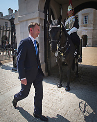 © London News Pictures. 22/05/2011. London, UK. Secretary of State for Culture, Olympics, Media and Sport Jeremy Hunt MP on passing HOrse Guards on Whitehall on May 22, 2012 following a cabinet meeting. It was announced yesterday (Monday) that JEREMY HUNT will face a Parliamentary inquiry into claims he failed to register corporate hospitality. Photo credit: Ben Cawthra/LNP