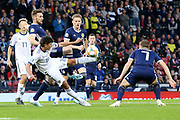 Yuri Zhirkov of Russia (18) tries the early overhead kick during the UEFA European 2020 Qualifier match between Scotland and Russia at Hampden Park, Glasgow, United Kingdom on 6 September 2019.