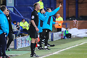 Forest Green Rovers manager, Mark Cooper shouts instructions during the Vanarama National League match between Tranmere Rovers and Forest Green Rovers at Prenton Park, Birkenhead, England on 11 April 2017. Photo by Shane Healey.