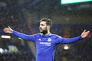 Chelsea midfielder Cesc Fabregas couldnt believe some of the decisions during the Barclays Premier League match between Chelsea and West Bromwich Albion at Stamford Bridge, London, England on 13 January 2016. Photo by Matthew Redman.