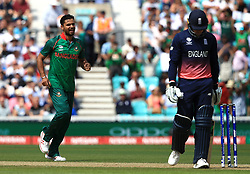 Bangladesh's Mashrafe Mortaza celebrates the wicket of England's Jason Roy during the ICC Champions Trophy, Group A match at The Oval, London.