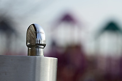 Drink water fountain near a playground at the grounds of the former Naval Air Warfare Center Warminster, in Bucks County, Pennsylvania, USA  on February 6, 2019. The United States Environmental Protection Agency (EPA) is expected to release updates on tests of per- and polyfuoroalkyl substances or PFAs pollution in public water supplies for 16 million Americans in 33 states, including Pennsylvania. The federal report is delayed due to January 2019 shutdown. Reps. Brian Fitzpatrick, Republican of Bucks County in Eastern Pennsylvania and Democrat Dan Kildee, of Michigan cochair a bipartisan task force in the House of Representatives, formed to take on the growing PFAS Contamination Crisis. The usage of foam at nearby former military bases is linked to tainted drinking water, affecting tens of thousands of residents in Bucks and Montgomery Counties in Eastern Pennsylvania.