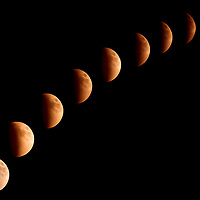 Composite of images illustrating the various phases of the Super Lunar Eclipse which occurred on September 22, 2015