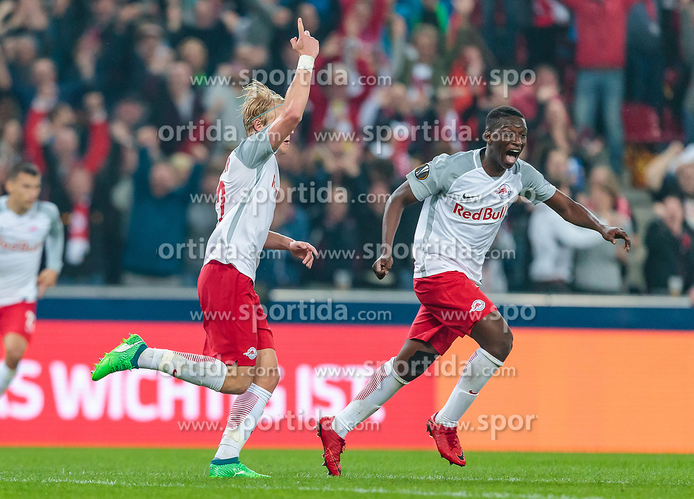 03.05.2018, Red Bull Arena, Salzburg, AUT, UEFA EL, FC Salzburg vs Olympique Marseille, Halbfinale, Rueckspiel, im Bild Torjubel Salzburg nach dem 2:0 per Eigentor durch Bouna Sarr (Olympique Marseille), Fredrik Gulbrandsen (FC Salzburg), Amadou Haidara (FC Salzburg) // during the UEFA Europa League Semifinal, 2nd Leg Match between FC Salzburg and Olympique Marseille at the Red Bull Arena in Salzburg, Austria on 2018/05/03. EXPA Pictures © 2018, PhotoCredit: EXPA/ JFK