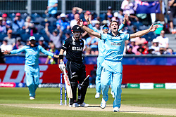 Chris Woakes of England celebrates taking the wicket of Henry Nicholls of New Zealand - Mandatory by-line: Robbie Stephenson/JMP - 03/07/2019 - CRICKET - Emirates Riverside - Chester-le-Street, England - England v New Zealand - ICC Cricket World Cup 2019 - Group Stage