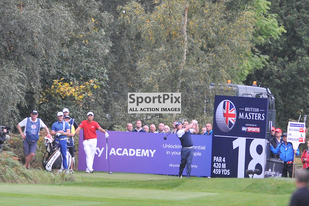 Lee Westward England tees of from the 18th Hole, British Masters, European Tour, Woburn Golf Club, 8th October 2015