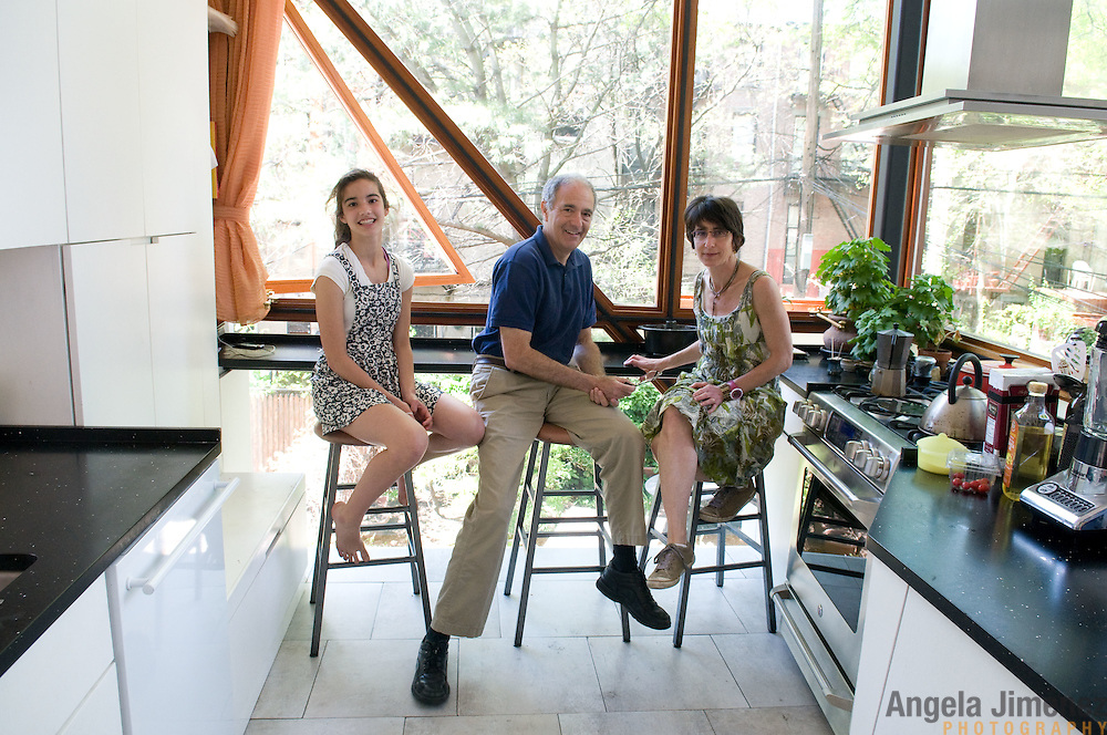 Date: 5/8/11.Desk: REA.Slug: 15COVER5.Assign Id: 10111168E..The home of Jed Marcus, center, and Jessica Greenbaum, right, a four-story 1874 brownstone with a 2009 back addition by design architect Christopher McVoy located in Fort Greene, Brooklyn, is photographed on May 8, 2011. They live there with their daughters Becki, 13, left, and Bella, 16, who is away at boarding school. ..Here, is the interior of the kitchen. ..Photo by Angela Jimenez for The New York Times .photographer contact 917-586-0916