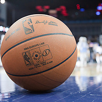 04 October 2010: A basket ball is seen during the Minnesota Timberwolves 111-92 victory over the Los Angeles Lakers, during 2010 NBA Europe Live, at the O2 Arena in London, England.