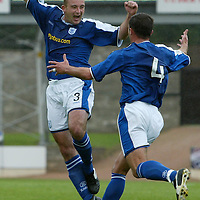 St Johnstone v Raith Rovers...28.08.04<br />Kevin Fotheringham celebrates with David Hannah<br /><br />Picture by Graeme Hart.<br />Copyright Perthshire Picture Agency<br />Tel: 01738 623350  Mobile: 07990 594431