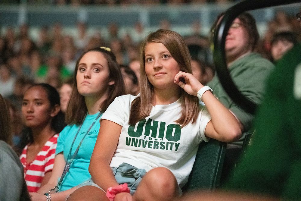 First Year students listen to the Lydia Ramlo, the Student Senate President , speak at the First Year Student Convocation.