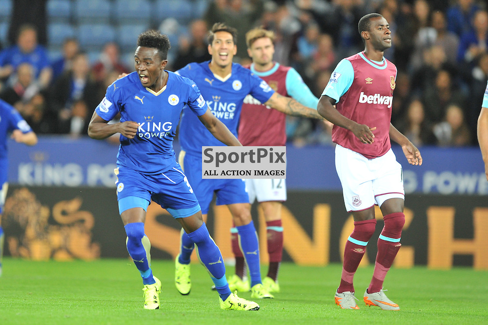 Joe Dodoo celebrates after scoring Leicesters goal, Leicester City v West Ham Utd, Carling Cup, King Power Stadium, Tuesday 22nd September 2015.