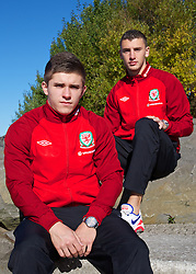 CARDIFF, WALES - Thursday, October 10, 2013: Wales' new faces Declan John [l] and James Wilson [r] photographed at the St. David's Hotel ahead of the team's 2014 FIFA World Cup Brazil Qualifying Group A match against Macedonia. (Pic by David Rawcliffe/Propaganda)