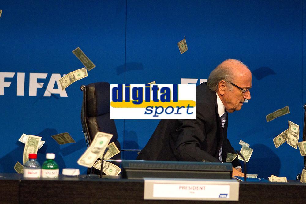 Sepp Blatter, le president de la FIFA, qui allait commencer sa conference de presse, ce lundi a Zurich, a ete interrompu par un individu qui s' etait fait passer pour un journaliste et qui a lance une poignee de faux dollars<br /> Blatter a quitte la salle afin qu'elle soit nettoyee avant de revenir quelques minutes plus tard.<br /> <br /> <br /> <br /> Date de création: 20/07/2015<br /> Légende: Le President Sepp Blatter<br /> Référence: PANOblatter20072015.003<br /> Sous-titre: <br /> Copyright: ZM / Panoramic<br /> Crédit: ZM / Panoramic<br /> Signature:<br /> Références originales: ZUMA-20150720_zaf_x99_185.jpg<br /> Mots-clés<br /> se, ZUMAPRESS.com, thepicturesoftheday.com, XxjpbeE000960_20150720_TPPFN0A001.jpg, zagency, zselect, Xu, Jinquan, zwire, 20150720_zaf_x99_185.jpg,