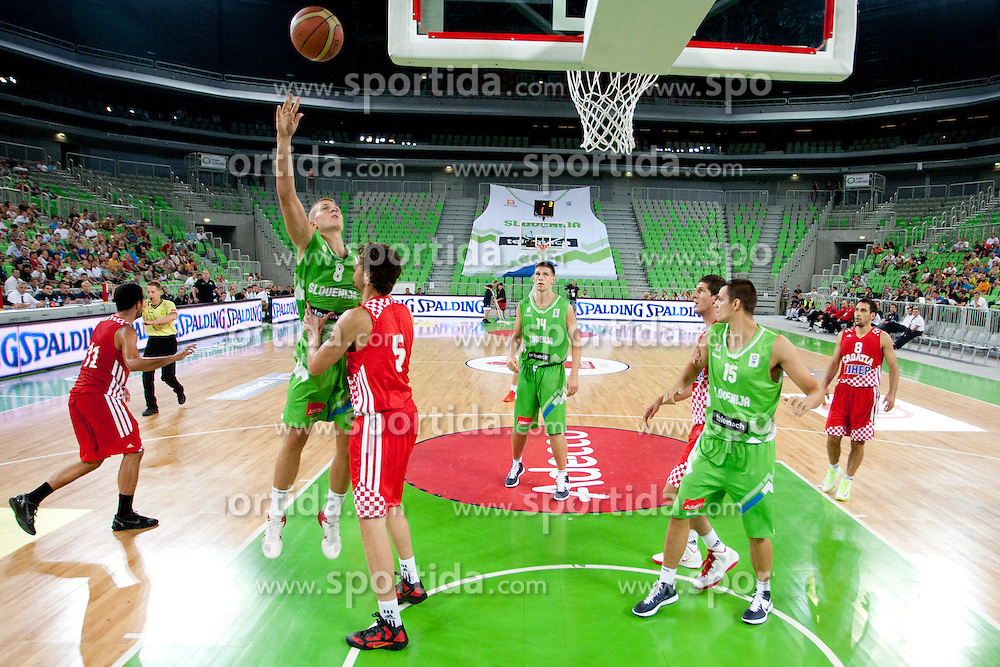 Edo Muric of Slovenia during friendly basketball match between National teams of Slovenia and Croatia of Adecco Ex-Yu Cup 2012 as part of exhibition games 2012, on August 4, 2012, in Arena Stozice, Ljubljana, Slovenia. (Photo by Urban Urbanc / Sportida)