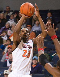 Virginia guard Jeff Jones (23) shoots against Liberty.  The Virginia Cavaliers faced the Liberty Flames in NCAA Division 1 men's basketball at the University of Virginia's John Paul Jones Arena  in Charlottesville, VA on March 9, 2008.