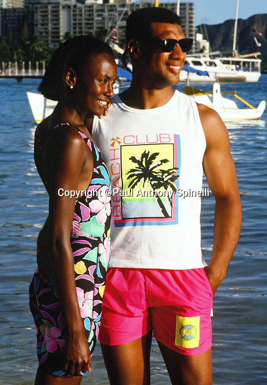 The National Football Conference Minnesota Vikings safety Joey Browner poses for a photo with his wife on Waikiki Beach after photo day the week before the 1989 NFL Pro Bowl football game against the American Football Conference on Jan. 24, 1989 in Honolulu. The NFC won the game 34-3. (©Paul Anthony Spinelli)