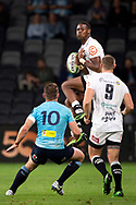 SYDNEY, AUSTRALIA - APRIL 27: Sharks player Aphelele Fassi (15) drops a high ball at round 11 of Super Rugby between NSW Waratahs and Sharks on April 27, 2019 at Western Sydney Stadium in NSW, Australia. (Photo by Speed Media/Icon Sportswire)