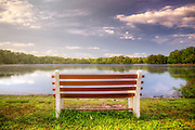 Empty Bench at Belmont Lake State Park - Featured in Newsday and Flickr Explore