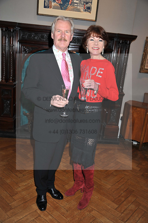 Actor DAVID ROBB and actress BRIONY McROBERTS at a reception to unveil the Limited Centenary Edition of Sir George Frampton's statuette of Peter Pan in aid of the Moat Brae Charity held at The Fine Art Society, 148 New Bond Street, London on 1st May 2012.