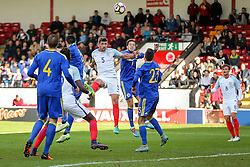 Jack Stephens of England U21 heads - Rogan Thomson/JMP - 11/10/2016 - FOOTBALL - Bescot Stadium - Walsall, England - England U21 v Bosnia and Herzegovina - UEFA European Under 21 Championship Qualifying.